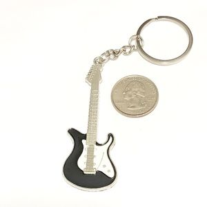 Guitar Keychain Silver Tone And Enamel Colors